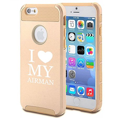 Apple iPhone 6 6s Shockproof Impact Hard Case Cover I Love Heart My Airman Airforce (Gold),MIP