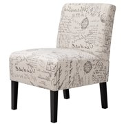Armless Accent Chair Sofa Side Chairs with Solid Rubberwood Legs Letter Print
