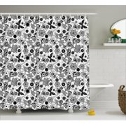 Black And White Shower Curtain Eastern Cultures Inspirations Abstract Orchids Wildflowers Monochrome Fabric