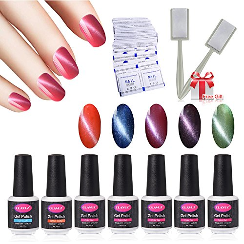 CLAVUZ Nice Bright Nail Polish Set C001,5pcs Gel Polish With Top And Base Coat With 50 Pcs Remover Wrap Soak Off UV LED Nail Art Kit 1pc Magic Magnet Stick Free Gift Set