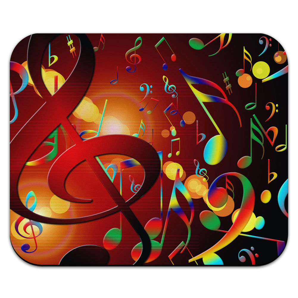 Colorful Rainbow Musical Notes - Sheet Music Mouse Pad