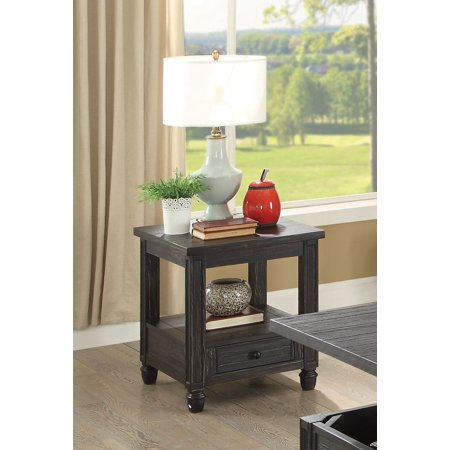 Furniture of America Wahlberg Rustic Louvered Antique Black End Table