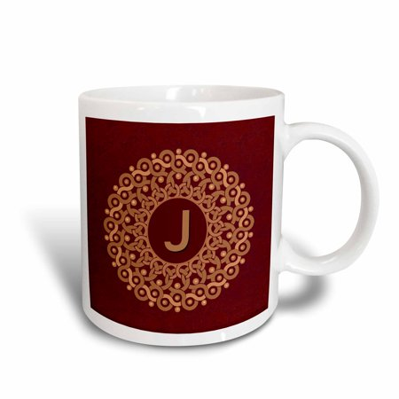 3dRose Monogram J tan and coffee mandala on rich chocolate muted grunge damask, Ceramic Mug, 11-ounce