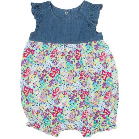 Jordache Newborn Baby Girl Floral Mixed Media Denim Romper