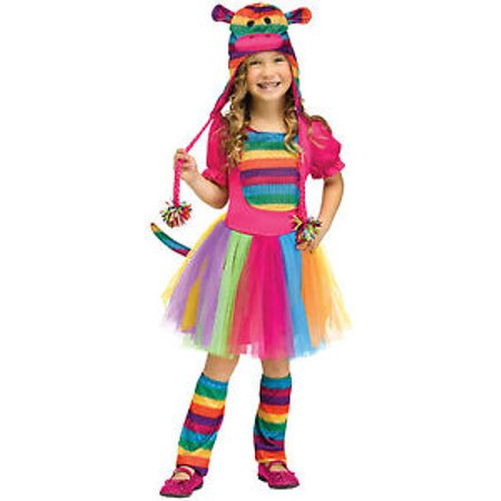 Rainbow Sock Monkey Girls Toddler Cute Toy Halloween Costume
