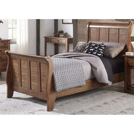 Liberty Furniture Grandpa's Cabin Full Sleigh Bed in Aged Oak