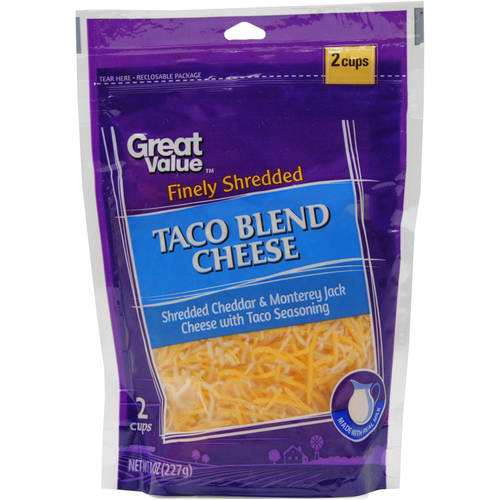 Great Value Finely Shredded Taco Blend Cheese, 8 oz