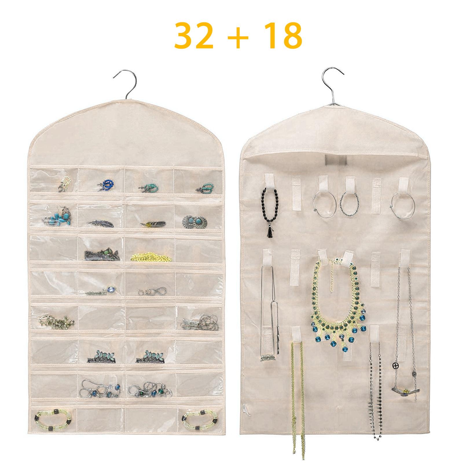 Eeekit Closet Hanging Jewelry Organizer Necklace Storage Holder Travel Display Case Bag