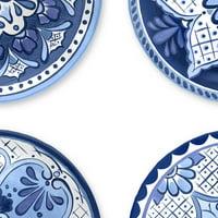 Cobalt Casita Assorted Set Of 4 Salad Plates, 4 Dinnerware Sets