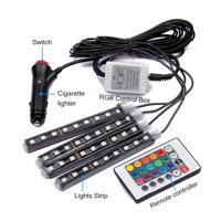 4pcs Car LED Interior Strip Light Neon Music Atmosphere Lights IR Control Remote