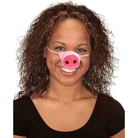 Plush Velvety Pink Pig Nose With Elastic Band - Pig Noses