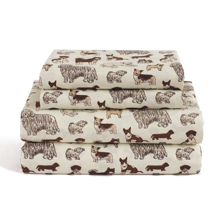 Dog Queen Size 4 Piece Sheet Set Microfiber Bedding, Puppy Pet Animal Lover Gift