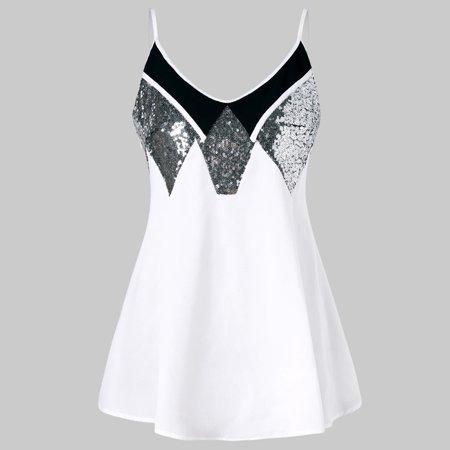 Women Plus Size Fashion Sequins Mini Dress Solid Sling Camis Casual Dress