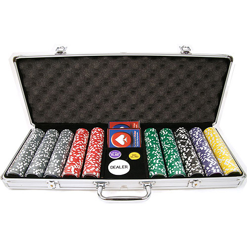 Trademark Poker 500pc 15g Clay Laser Las Vegas Chips with Aluminum Case by TRADEMARK GAMES INC
