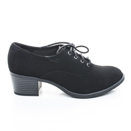 Mataro By City Classified  Round Toe Lace Up Oxford Inspired Stacked Heel Womens Shoes