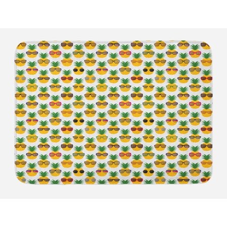 Tropical Bath Mat, Pineapples Wearing Sunglasses Funny Arrangement with Exotic Fruits Illustration, Non-Slip Plush Mat Bathroom Kitchen Laundry Room Decor, 29.5 X 17.5 Inches, Multicolor, Ambesonne (Pineapple With Sunglasses)