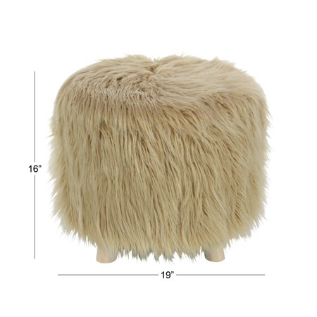 Decmode Round 16 x 19 inch wooden foot stool with faux fur cushion, Brown ()