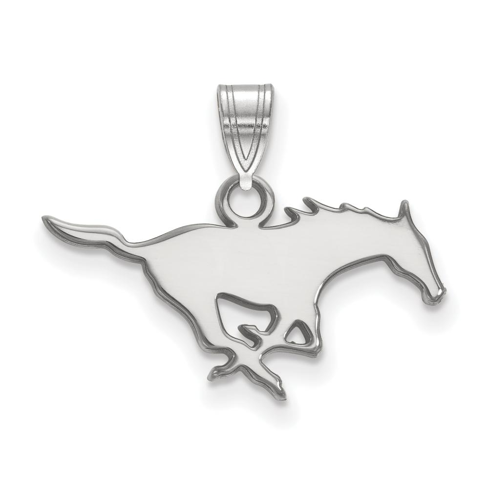 Southern Methodist Small (1/2 Inch) Pendant (14k White Gold)