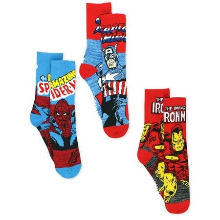 Marvel Avengers Spider-Man Iron Man Captain America Men's 3 pack Socks MCR2286](Male Elven Clothes)