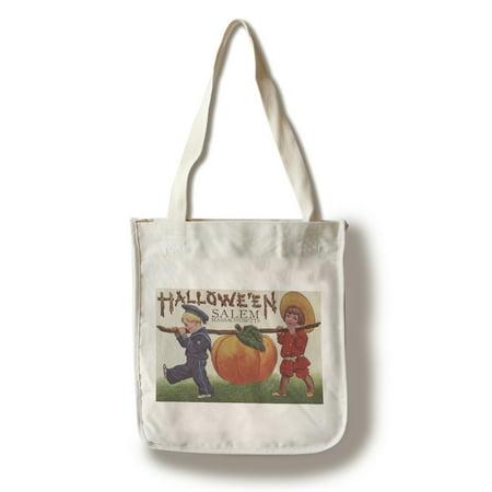 Salem, Massachusetts - Halloween Kids & Pumpkin - Vintage Postcard (100% Cotton Tote Bag - Reusable) - Post Halloween Pumpkin