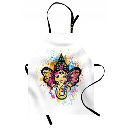 Colorful Apron Oriental Mandala Style Animal Portraits on a Colorful Paint Splashes Background, Unisex Kitchen Bib Apron with Adjustable Neck for Cooking Baking Gardening, Multicolor, by Ambesonne - Bake On Paint