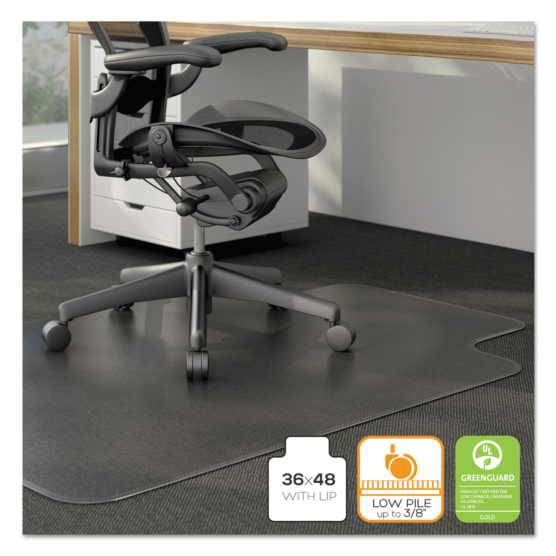 alera cleated chair mat for low and medium pile carpet 36 x 48