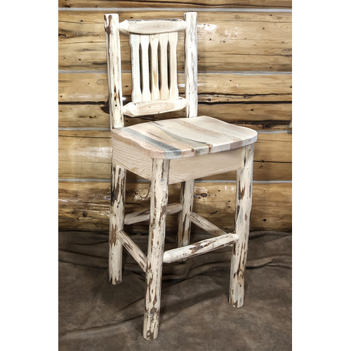 44 in. Log Barstool with Back
