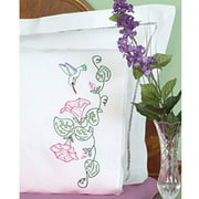 Jack Dempsey Hummingbird And Morning Glories Stamped Pillowcases With White Lace Edge