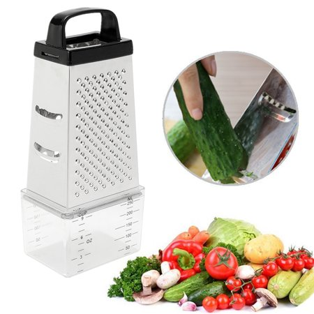 4 Sided Cheese Grater Vegetable Cutter Slicer Stainless Steel Multi Funtion With Container Box  for Vegetables, Fruits, Ginger, (Best Cheese Cutters)