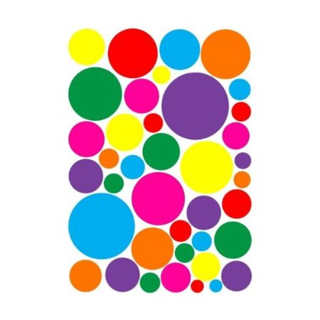 Multicolored Random Sized Rainbow Polka Dot Wall Decals Stickers / Nursery or Playroom Polka Dot Wall Decor in Hot Pink, Purple, Red, Green, Yellow, Orange and Blue Dot Wall Stickers