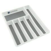 Silverware Drawer Organizer with Six Sections and Nonslip Tray- Flatware, Utensil, Cutlery Kitchen Divider By Lavish Home (Also for Desk and Office)