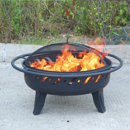 MICASA 30-inch Fire Pit with Spark Screen and safety ring. For Outdoor wood-burning or charcoal use (Lord Of The Rings Fire Pit Ring)
