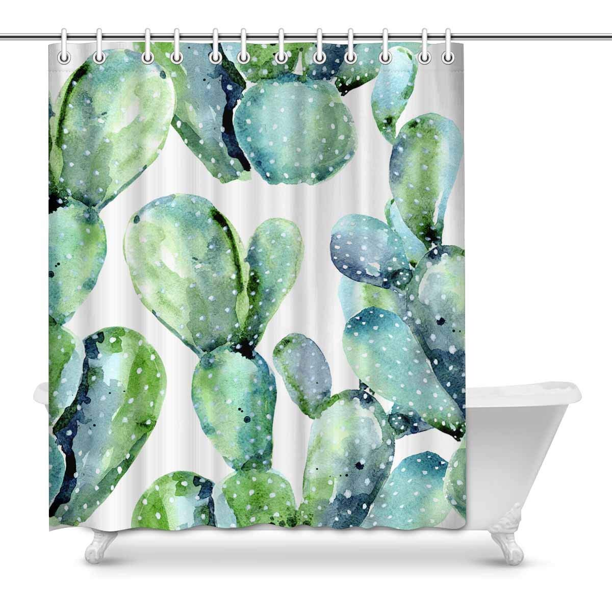 Gckg Watercolor Cactus Shower Curtain Seamless Floral Pattern Polyester Fabric Shower Curtain Bathroom Sets 60x72 Inches