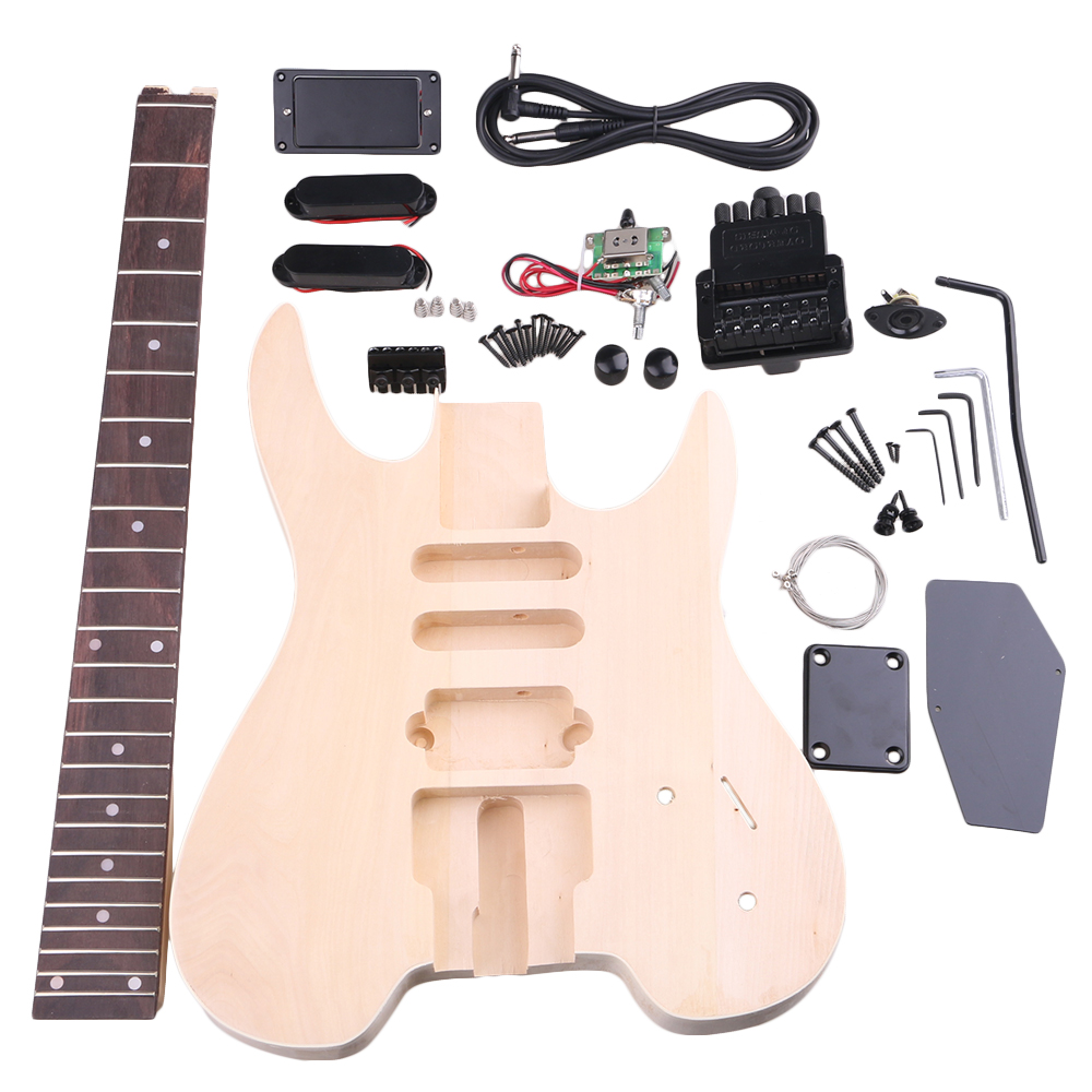 BQLZR Basswood Maple WT-2 6 String Electric Guitars DIY Kit Body Pickguard Humbucker Pickup Bridge Tuning Pegs Neck Knob for Guitar Builder Luthier