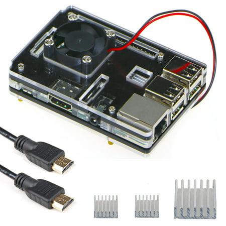 EEEKit 3in1 Kit for Raspberry Pi 3 Model B,Transparent 6-layer Case Box w/ Cooling Fan+Aluminum Heatsink+HDMI