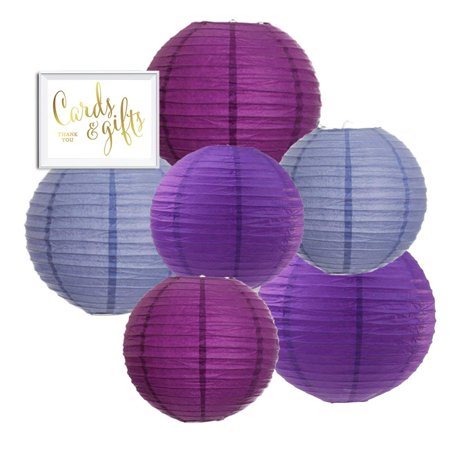 Andaz Press Hanging Paper Lantern Party Decor Trio Kit with Free Party Sign, Lavender, Plum Purple, Royal Purple, (6 Pack Beach Party)