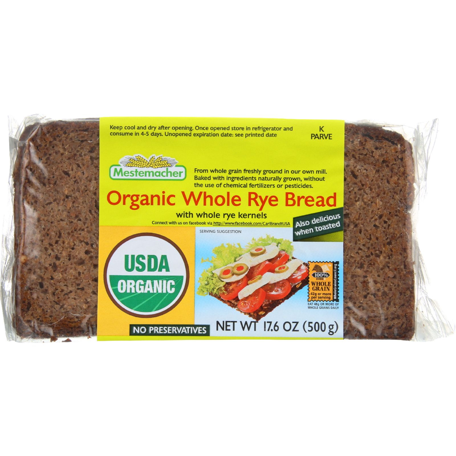 Mestemacher Organic Whole Rye Bread (12x17.6Oz)