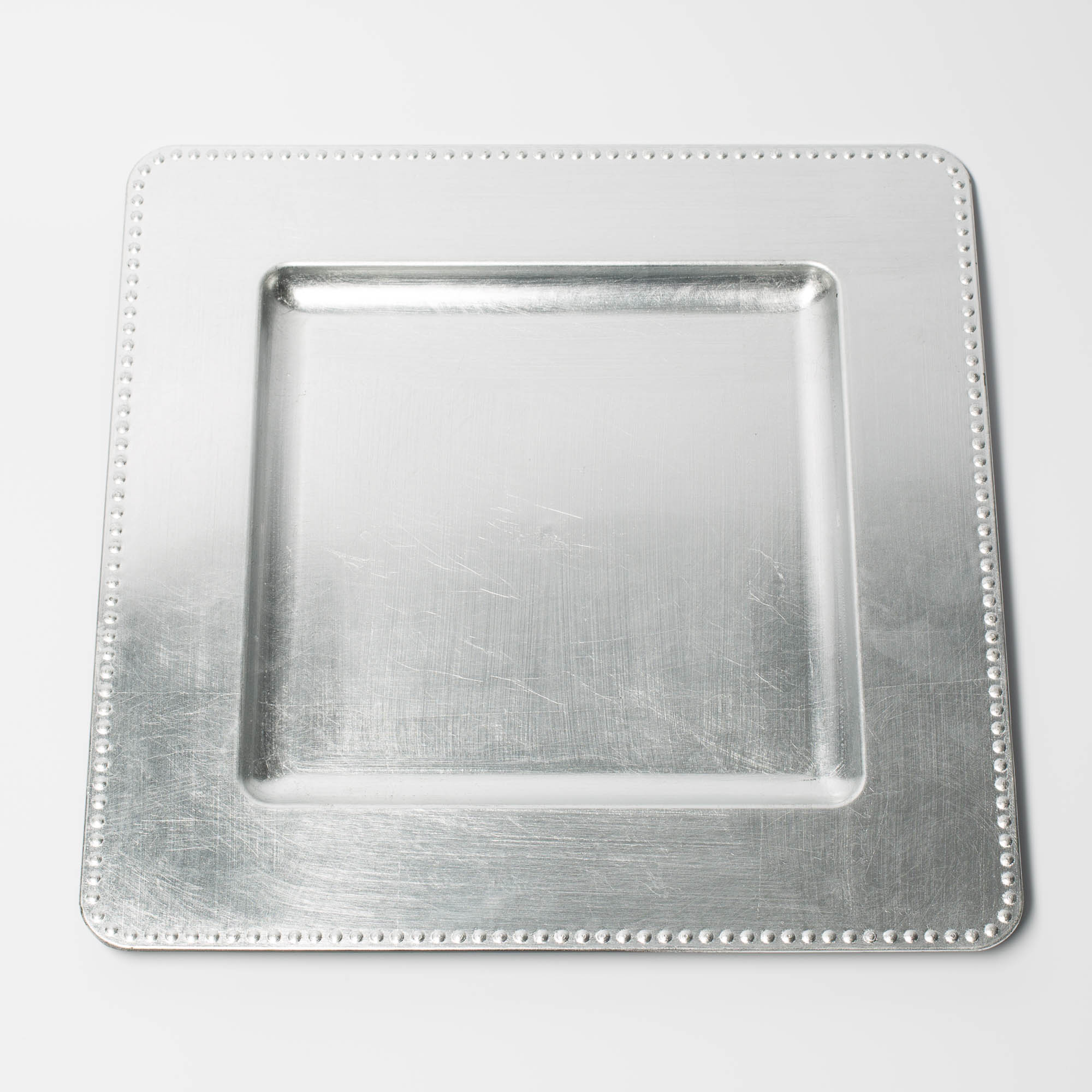 Richland Charger Plates 13\  Square Beaded Silver Set of 48 & Richland Charger Plates 13\