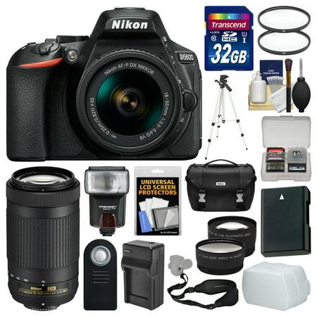 Nikon D5600 Wi-Fi Digital SLR Camera with 18-55mm VR & 70-300mm DX AF-P Lenses + 32GB Card + Case + Flash + Battery & Charger + Tripod + Tele/Wide Lens