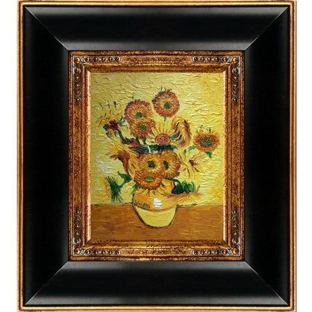 Fleur De Lis Living Vase With Fifteen Sunflowers By Vincent Van
