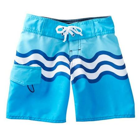 Azul Boys Turquoise Riding Waves Print Drawstring Tie Board Shorts