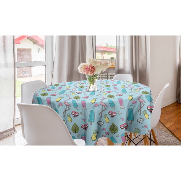 Summer Round Tablecloth Repeating Fun Items Of Popsicle Flamingo Pineapple Diamond Heart Star Leaf Circle Table Cloth Cover For Dining Room Kitchen Decor 60 Baby Blue Multicolor By Ambesonne Walmart Com