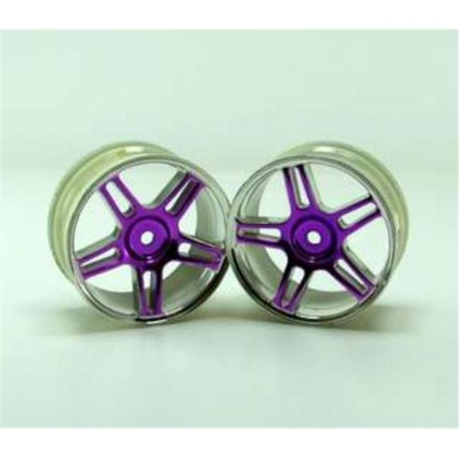 Redcat Racing 02228pp Chrome 5 Spoke Split Spoke Purple Anodized Wheels - For All Redcat Racing Vehicles