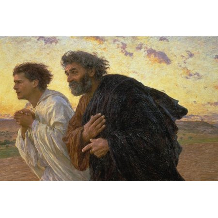 On the Morning of the Resurrection, the Disciples Peter and John on their Way to the Grave Bible Story Print Wall Art By Eugene