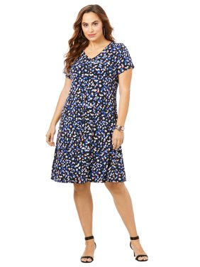 Roaman's Women's Plus Size Swing Drape Dress