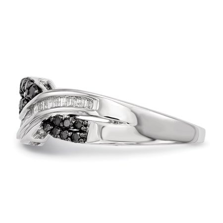 Sterling Silver Black and White Diamond Ring Size 7 - image 1 of 3