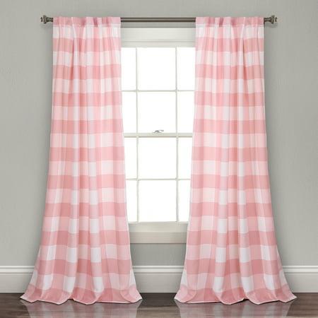 Kelly Checker Room Darkening Window Curtain Panels Pink 52x84 Set ()