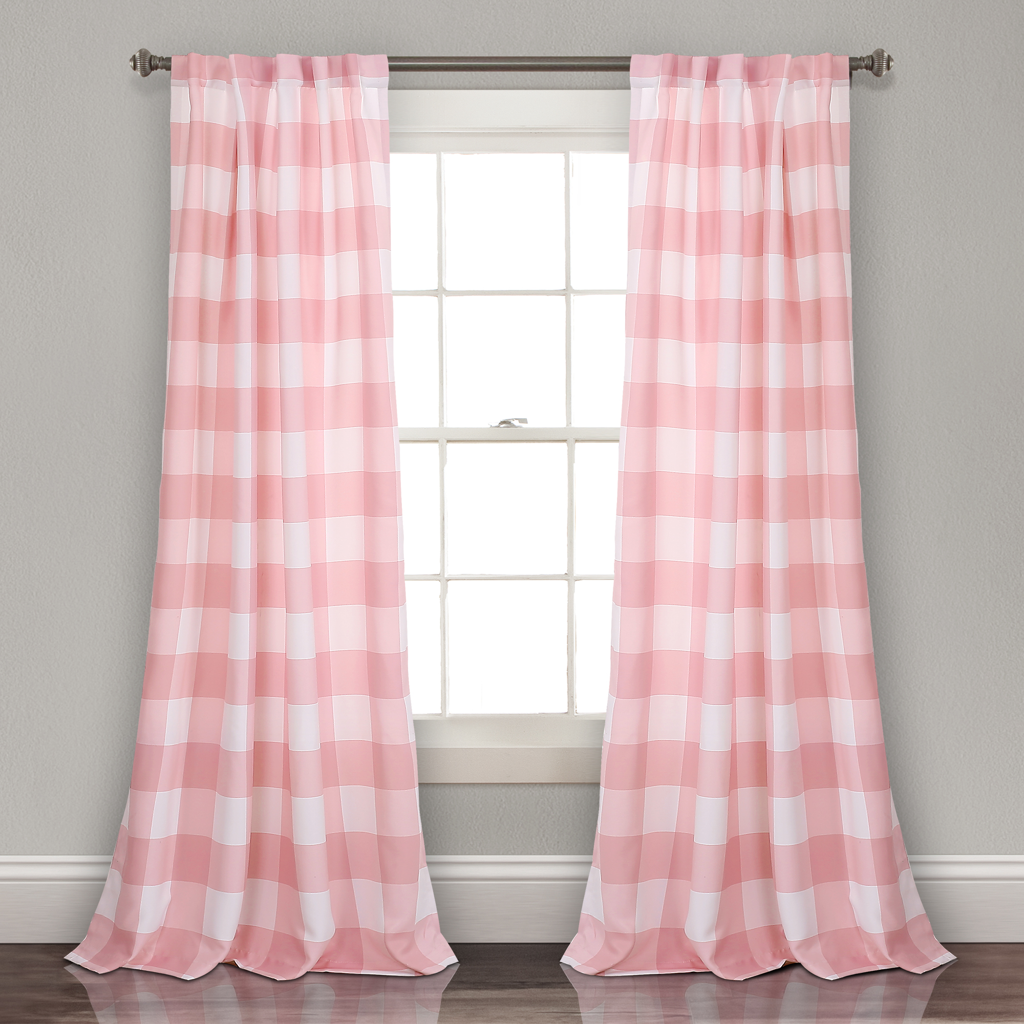 Kelly Checker Room Darkening Window Curtain Panels Pink 52x84 Set