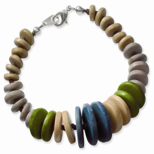 Silver-tone Multicolored Wood Graduating Leather Cord Necklace