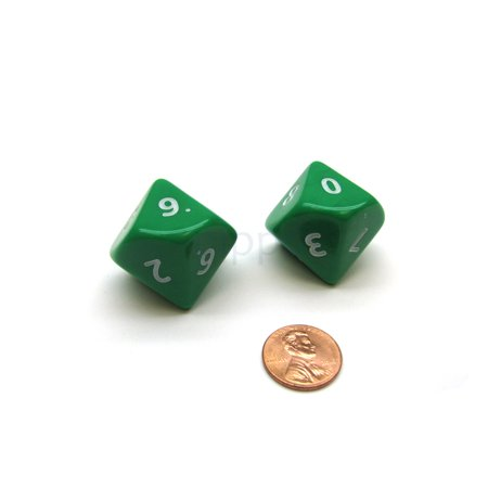 Opaque Jumbo 10 Sided D10 Chessex Dice, 2 Pieces - Green with White Numbers (22 Sided Dice)